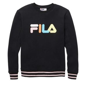 FILA French Terry Long Sleeve Sweatshirt Top Black